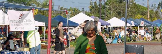 A scene at the busy Maku'u Market located between Kea'au and Pahoa in Puna.