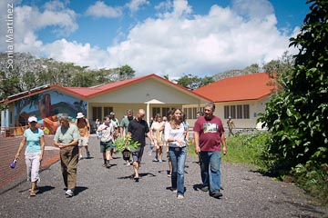 Uncle Keiki (on right) leads workshop participants out to the field activities.