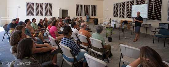 Ian Coie of the Breadfruit Institute speaks at Ka O Ka La Public Charter School.
