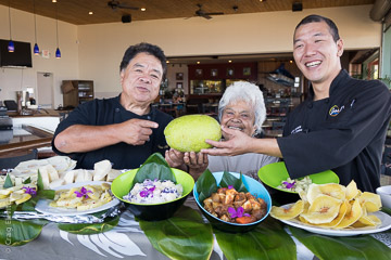 Chef Sam Choy, Auntie Shirley Kauhaihao, and Chef Scott Hiraishi share 'ulu dishes at Sam Choy's Kai Lanai in Keauhou, Kona, Hawai'i Island.